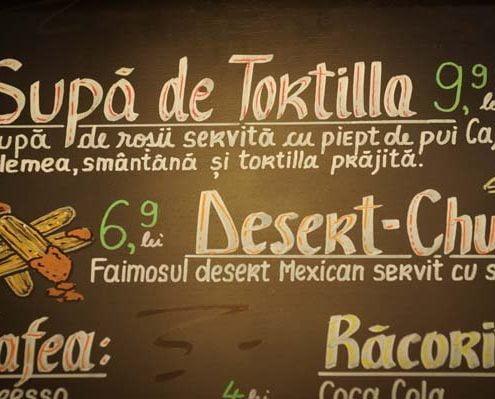 Imagine cu meniul Pokka si supa de rosii cu Tortilla.