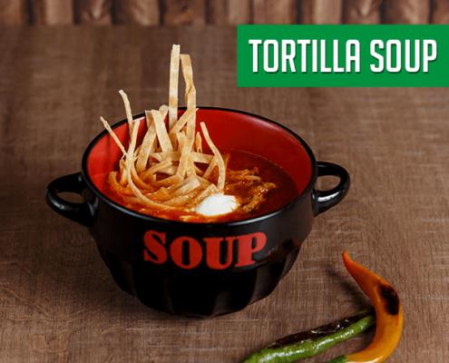 Imagine cu supa de rosii cu Tortilla de la Pokka.